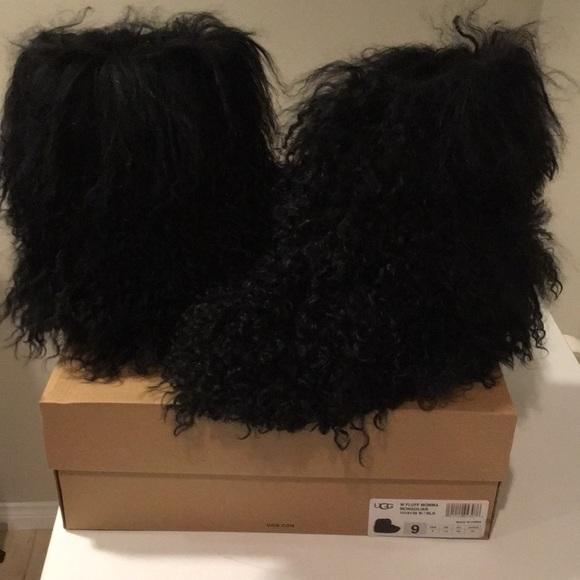 4bb742cae06 New Ugg Fluff Momma Mongolian black boots sz 9 ❤️ NWT